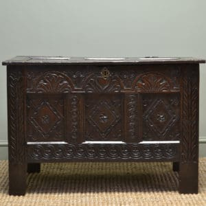 Seventeenth Century Period Oak Antique Carved Coffer