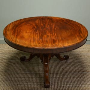 Beautifully Figured Circular Mahogany Antique Dining Table.