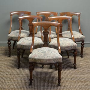 Beautifully Figured Set of Six Victorian Mahogany Spoon Back Dining Chairs