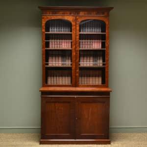 Spectacular Plum Pudding Mahogany Regency Antiques Glazed Bookcase