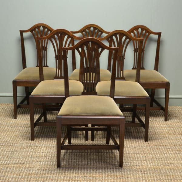 Quality Set of Six Georgian Mahogany Hepplewhite Antique Dining Chairs