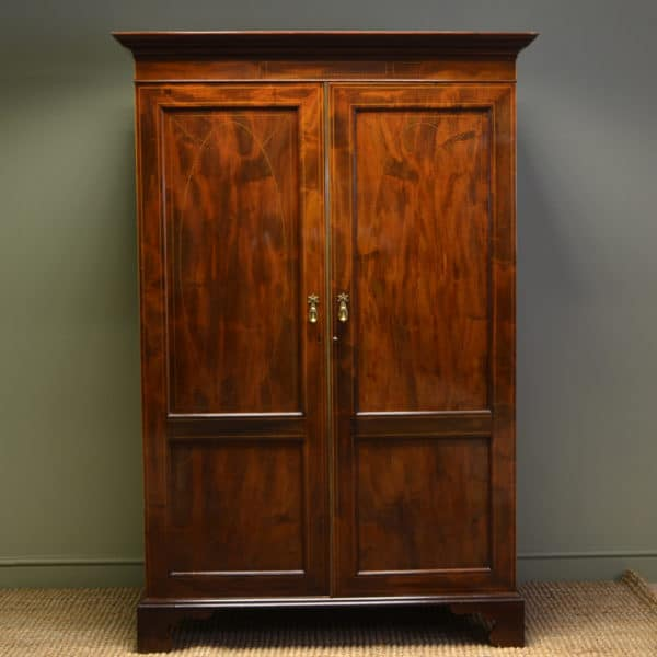 Beautiful Quality, Rich Figured Mahogany Antique Double Wardrobe