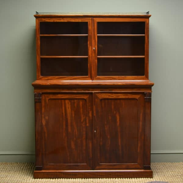 Spectacular William IV Figured Mahogany Bookcase / Display Cabinet