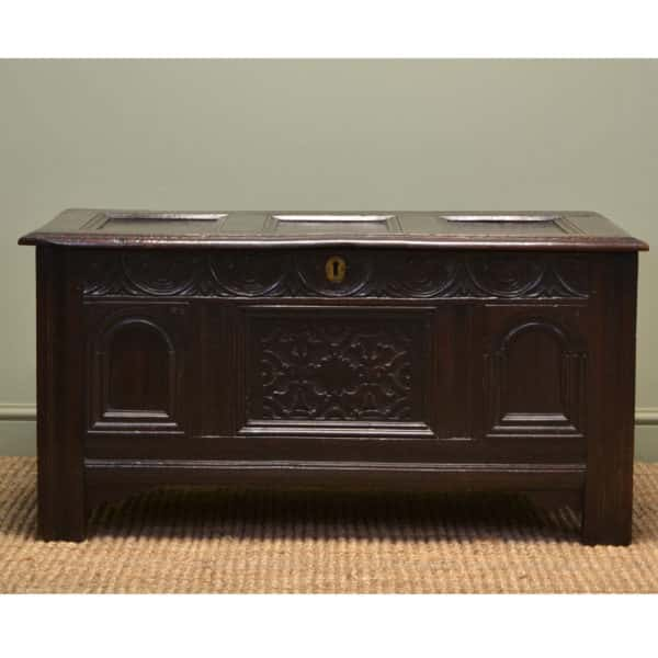 Beautifully Carved 17th Century Oak Antique Coffer Dated 1659