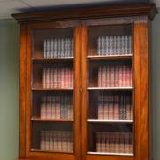 Beautiful Quality Large Victorian Figured Mahogany Antique Glazed Bookcase on Cupboard