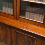 Beautiful Quality Large Victorian Figured Mahogany Antique Glazed Bookcase on Cupboard