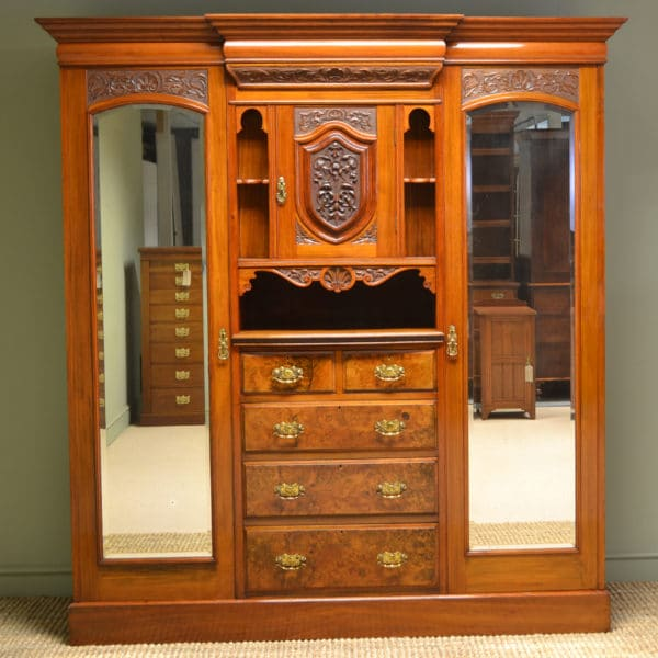 Spectacular Maple & Co Figured Walnut Victorian Antique Triple Wardrobe