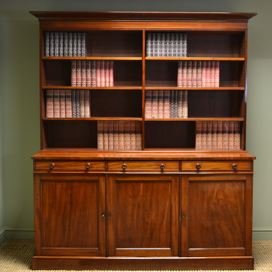 Quality Large Regency Mahogany Library Antique Open ...