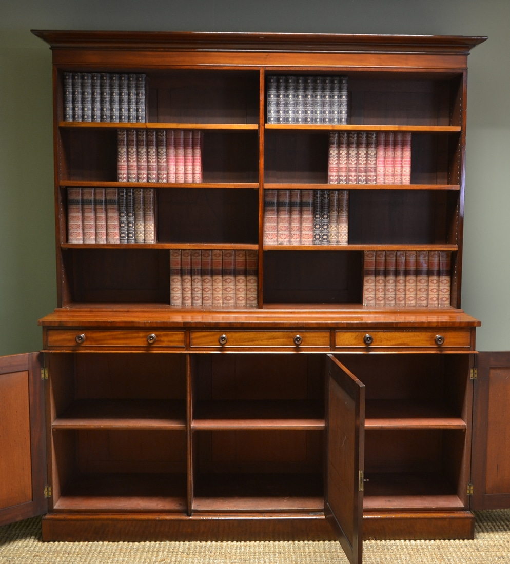 Quality Large Regency Mahogany Library Antique Open