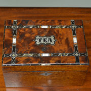 Unusual Victorian Inlaid Figured Walnut Antique Tea Caddy