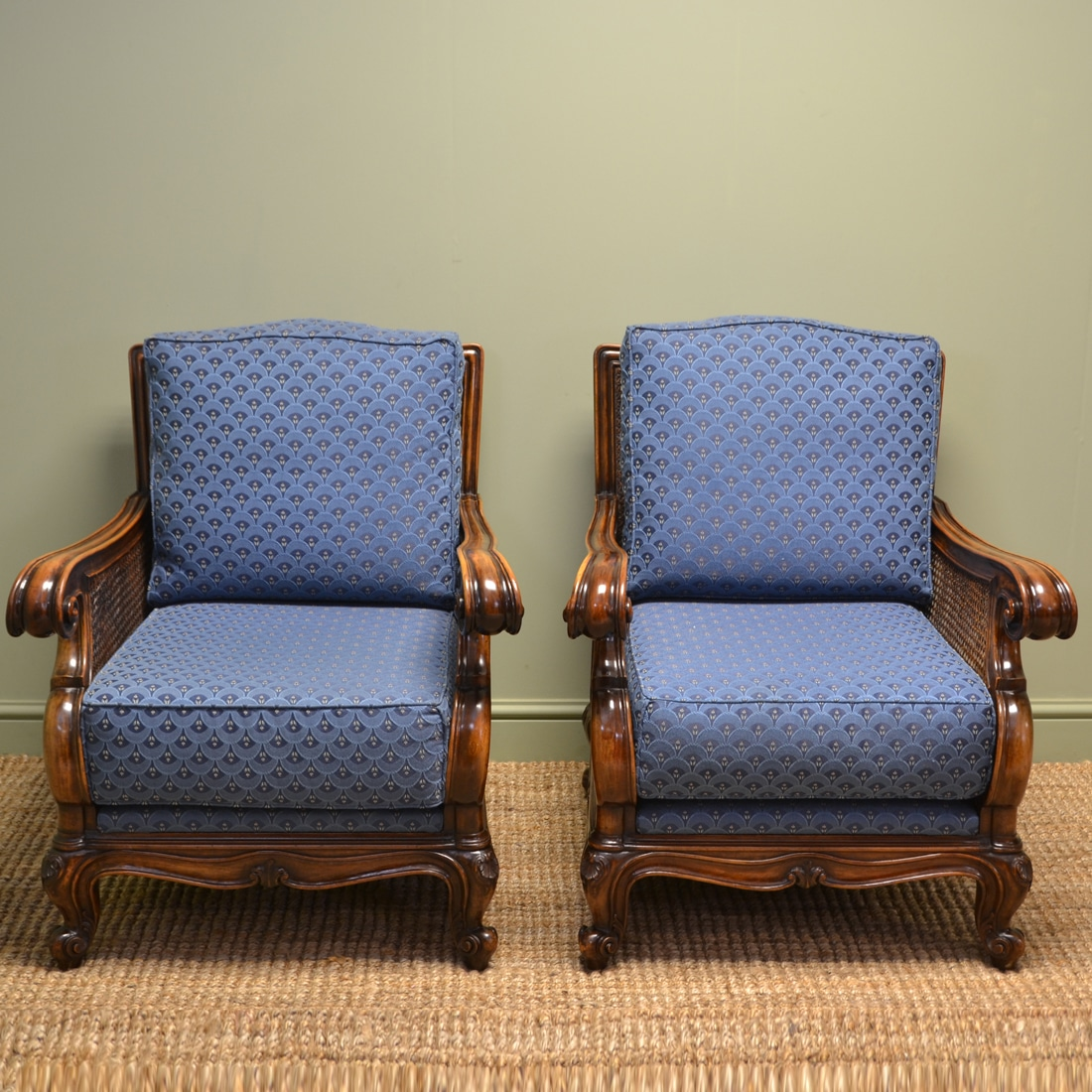 Pair of matching edwardian walnut antique bergere arm for Matching arm chairs