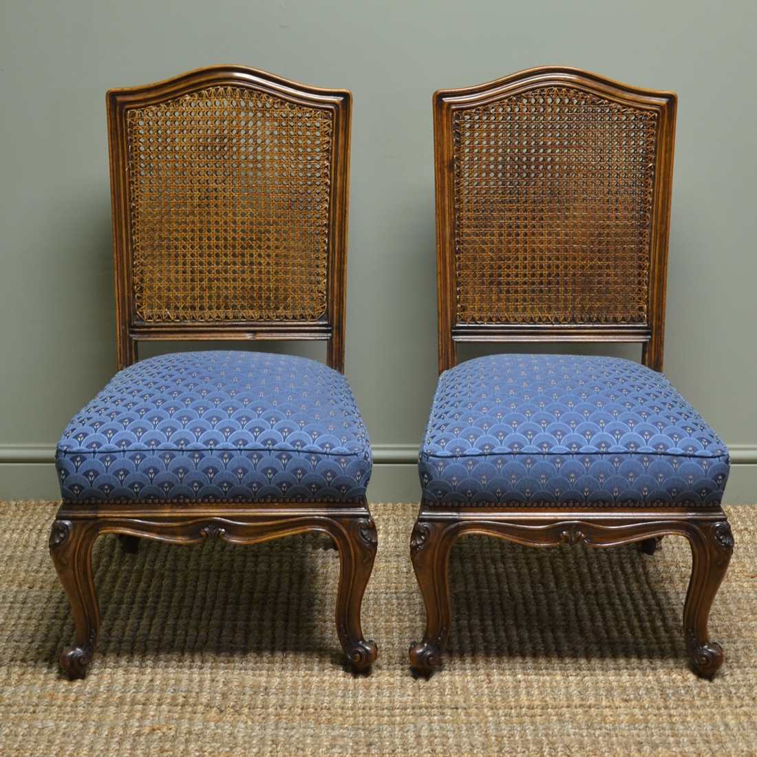 - Pair Of Edwardian Bergere Antique Walnut Side Chairs - Antiques World