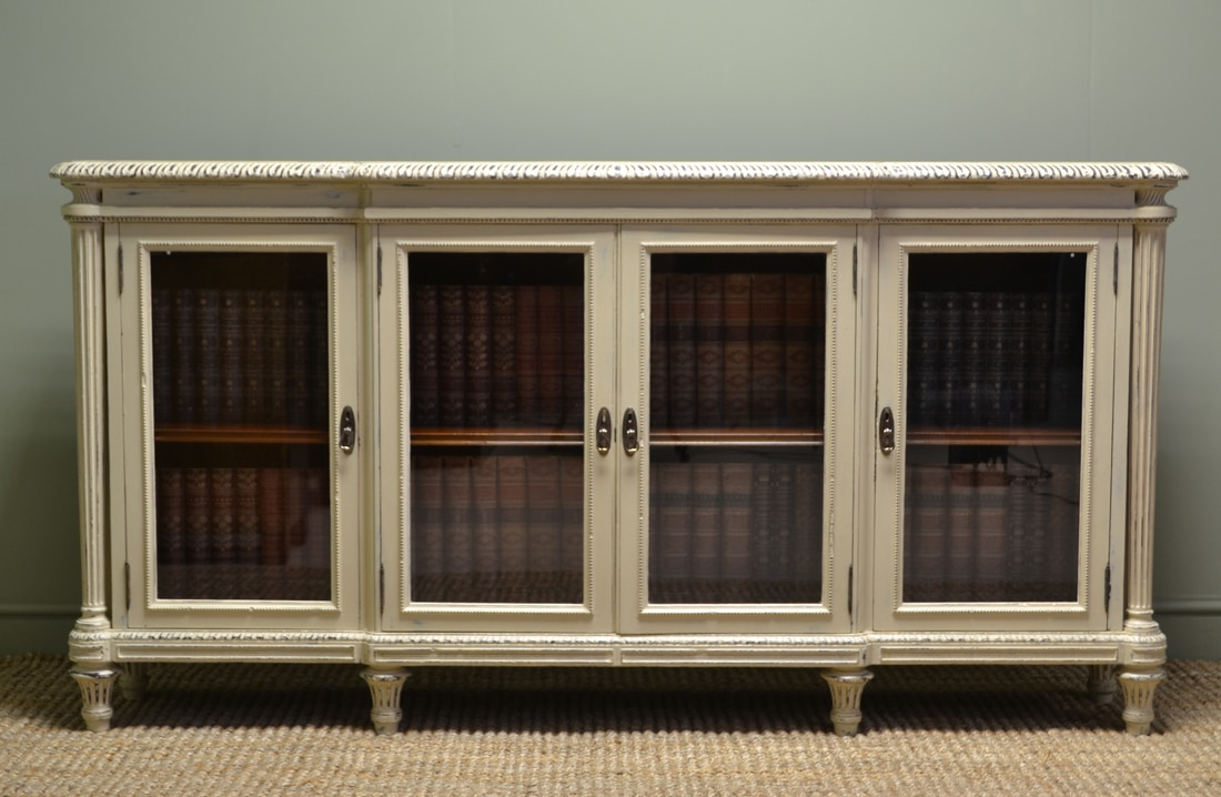Victorian Painted Antique Large Glazed Bookcase