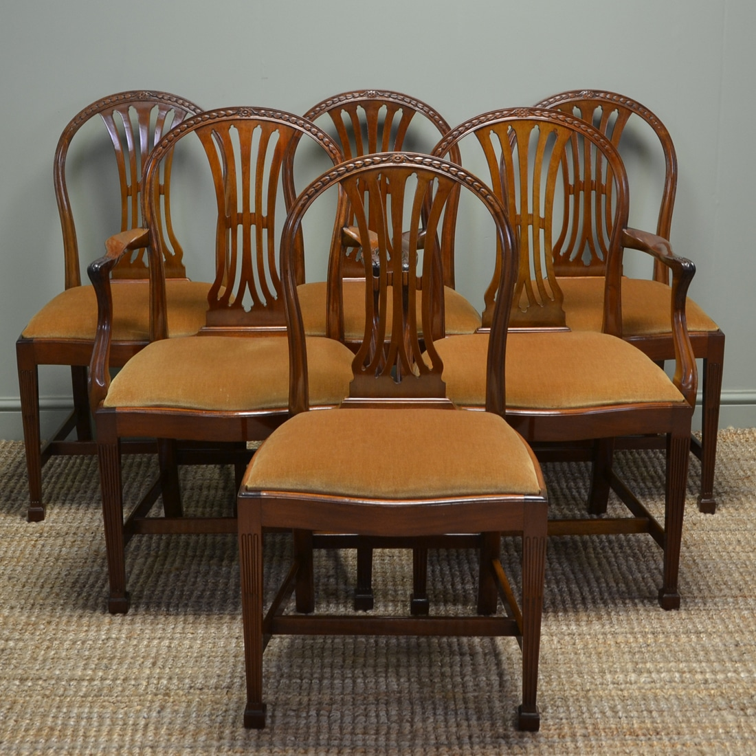 Quality set of six hepplewhite design edwardian walnut