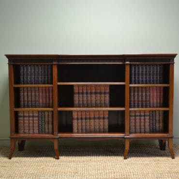 Spectacular Victorian Figured Mahogany Antique Breakfront Open Bookcase