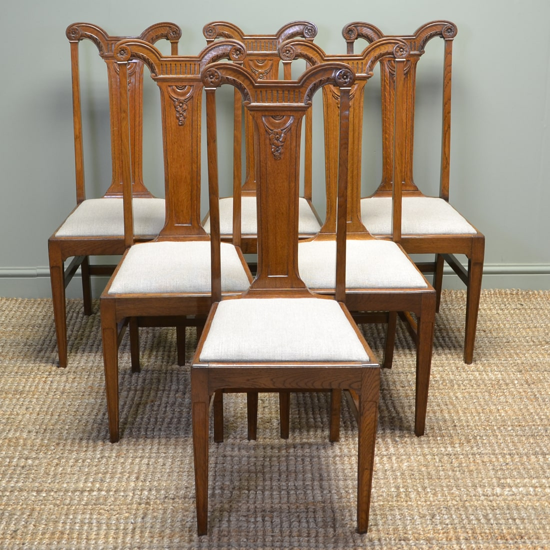 High quality set of six arts and crafts victorian golden oak antique dining chairs antiques world - Arts and crafts dining room furniture ...
