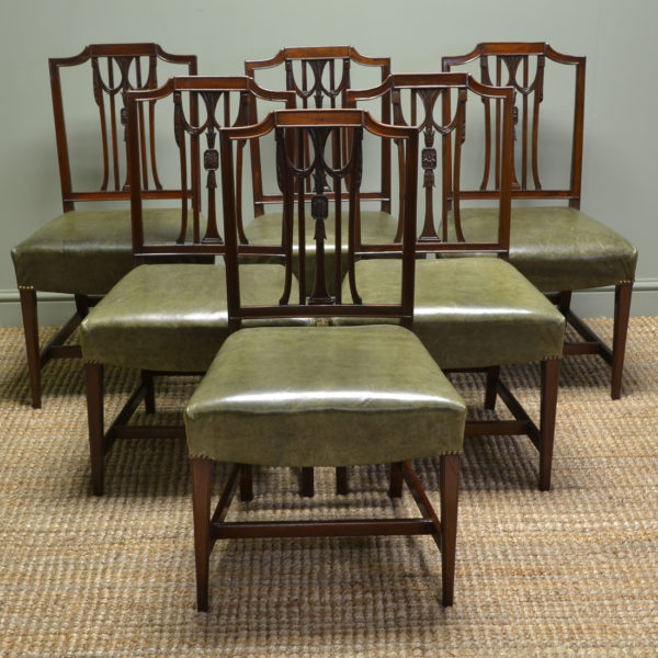 Set Of Six Hepplewhite Design Edwardian Mahogany Antique Dining Chairs