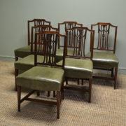 Set Of Six Hepplewhite Design Edwardian Mahogany Antique Dining Chairs