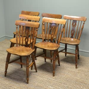Set of Six Georgian Elm Antique Country Chairs
