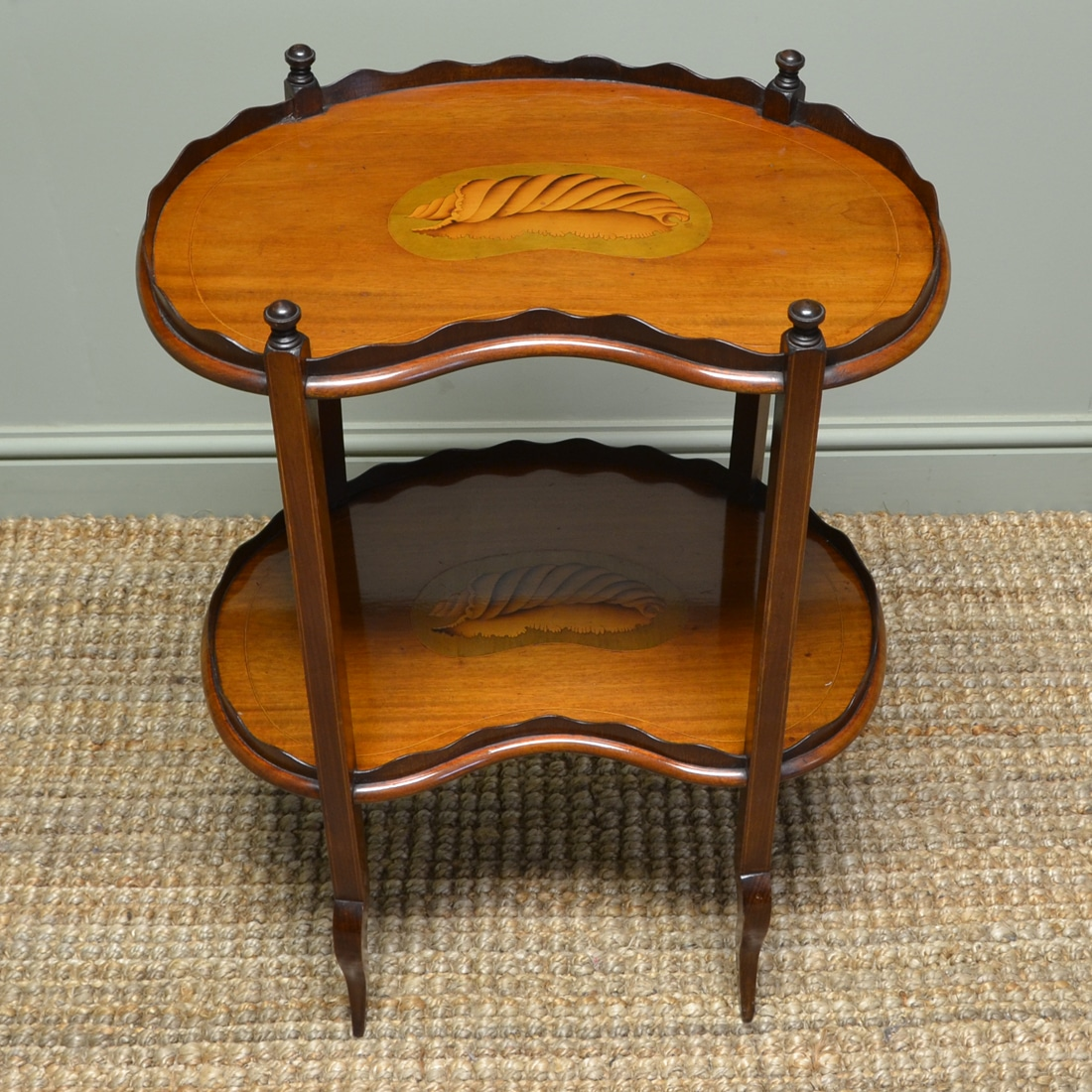 Fine Edwardian Mahogany Occasional Table with Shell Inlay