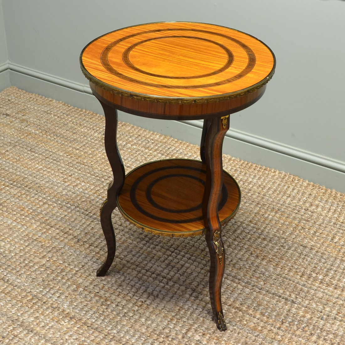 Edwardian Antique Satinwood Occasional Table with Decorative Brass Ormolu Mounts.