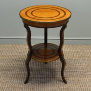 Fine Quality Edwardian Antique Satinwood Occasional Table with Decorative Brass Ormolu Mounts.