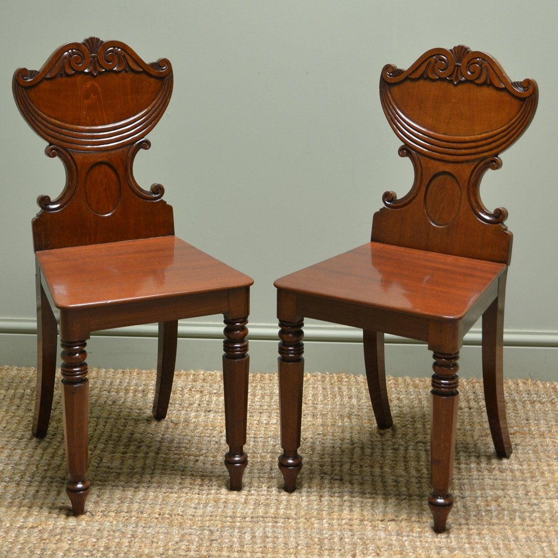 High Quality Pair Of Regency Antique Hall Side Chairs