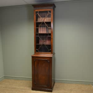 Unusual Tall Slim Georgian Mahogany Antique Bookcase on Cupboard