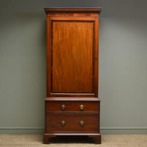 Georgian Antique Mahogany Crossbanded Cupboard on Chest