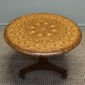 Spectacular Inlaid Walnut Antique Coffee / Occasional Table