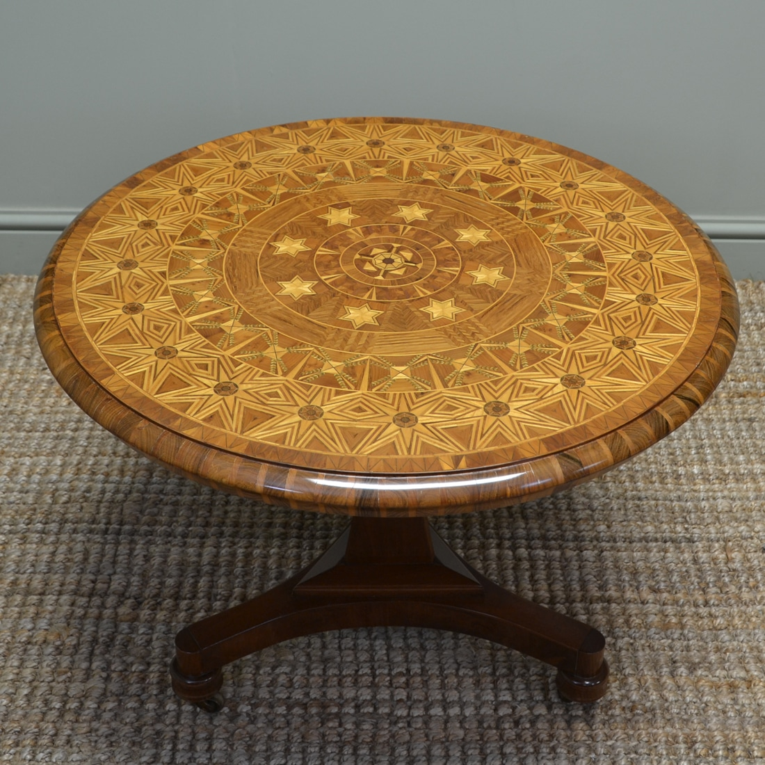 Spectacular Inlaid Walnut Antique Coffee / Occasional