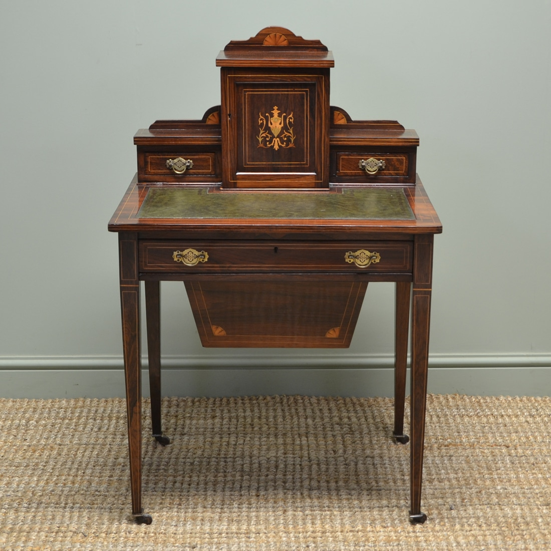 Stunning Victorian Inlaid Rosewood Ladies Writing Desk - Stunning Victorian Inlaid Rosewood Ladies Writing Desk - Antiques World