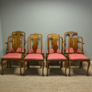 Quality Set of Eight Edwardian Mellow Mahogany Antique Walnut Dining Chairs