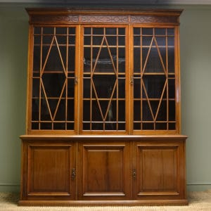 Magnificent Quality Large Victorian Walnut Antique Library Bookcase