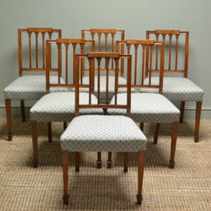 Fine Quality Set Of Six Figured Walnut Edwardian Antique Dining Chairs