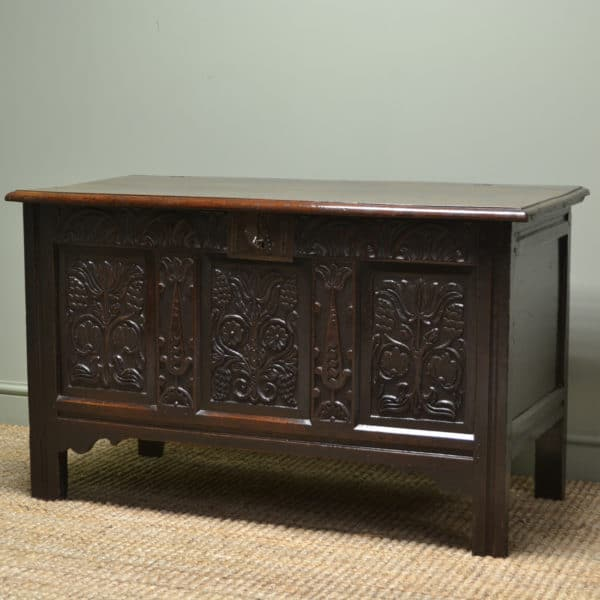 Seventeenth Century Country Carved Georgian Oak Antique Coffer