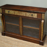 Spectacular Regency Rosewood Brass Inlaid Antique Secretaire Cabinet