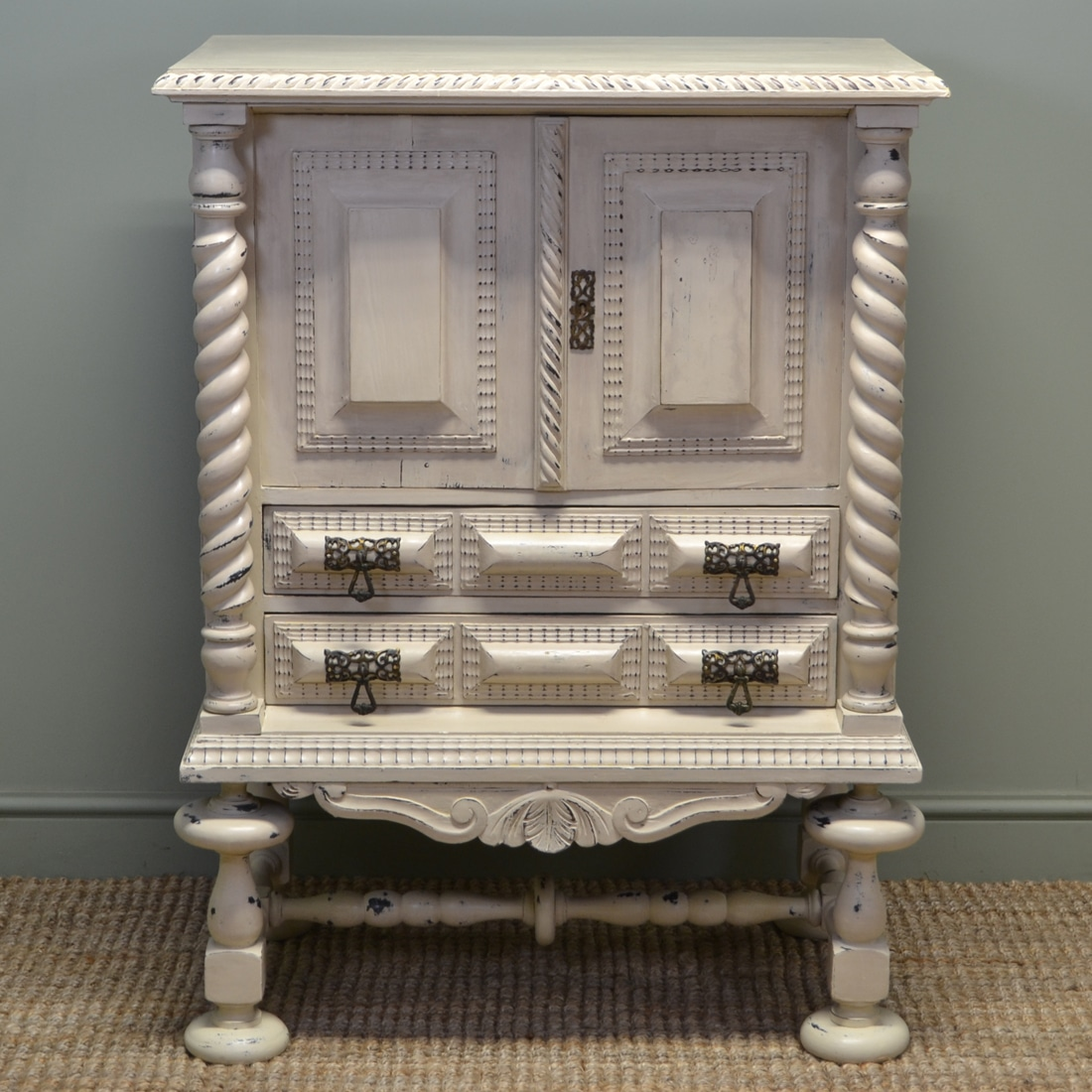 Unusual Victorian Painted Antique Cupboard Antiques World