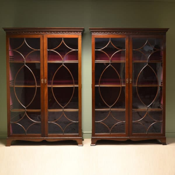 Magnificent Quality Pair of Victorian Mahogany Antique Bookcases