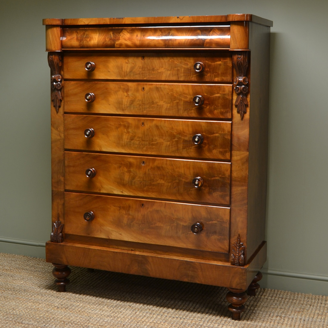 Spectacular Huge Scottish Flamed Mahogany Antique Victorian Chest Of Drawers
