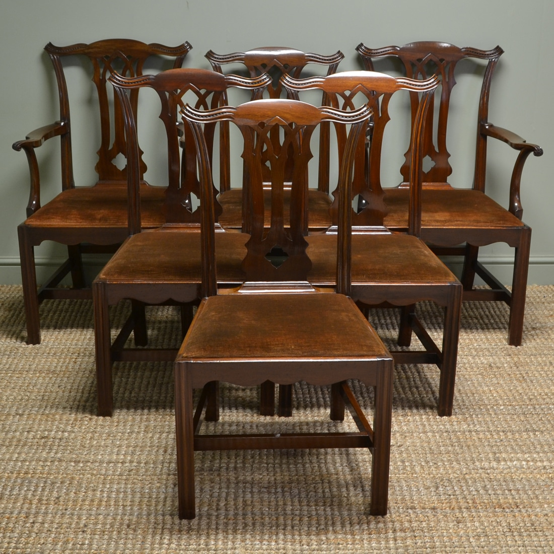 Quality Dining Furniture: Stunning Quality Set Of Six Antique Edwardian Solid Walnut