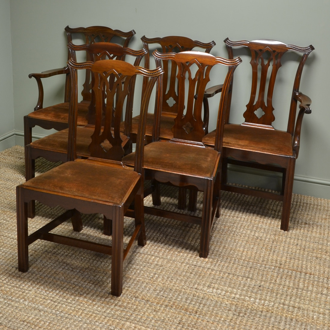 Quality Dining Chairs: Stunning Quality Set Of Six Antique Edwardian Solid Walnut