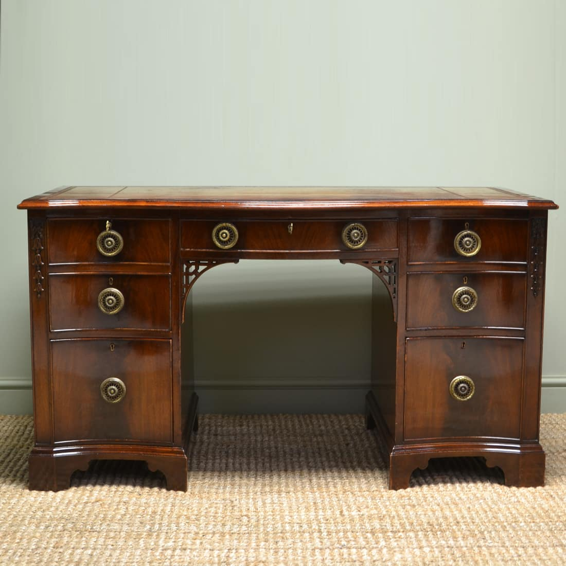 Spectacular Serpentine Shaped Front Edwardian Figured Mahogany Antique Desk