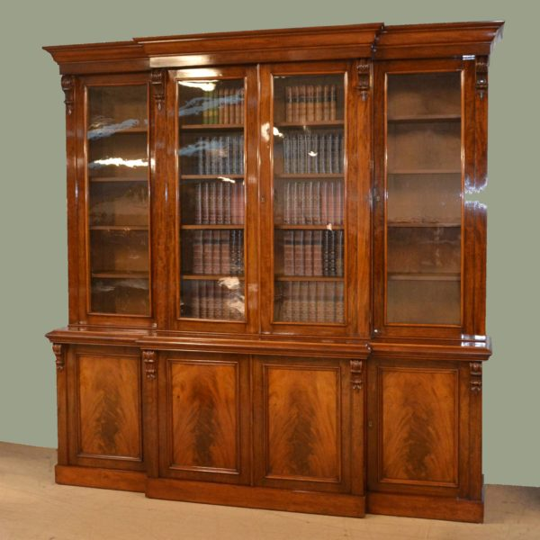 Magnificent Huge Figured Mahogany Regency Break Fronted Library Bookcase