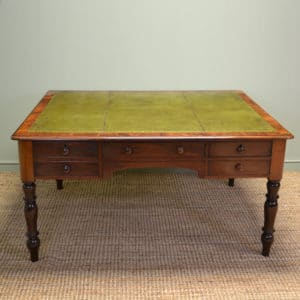 Large Figured Mahogany Victorian Antique Partners Library Desk