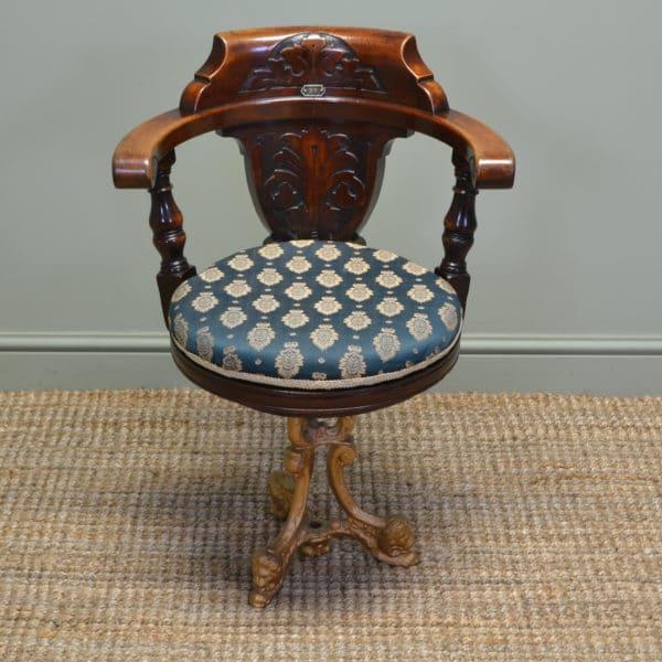 Unusual Victorian Walnut Antique Swivelling Ships Desk Chair