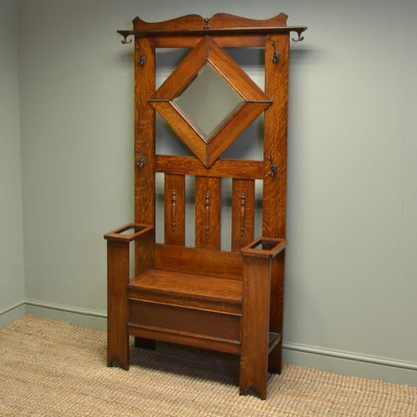 Quality Solid Oak Antique Edwardian Hall Stand