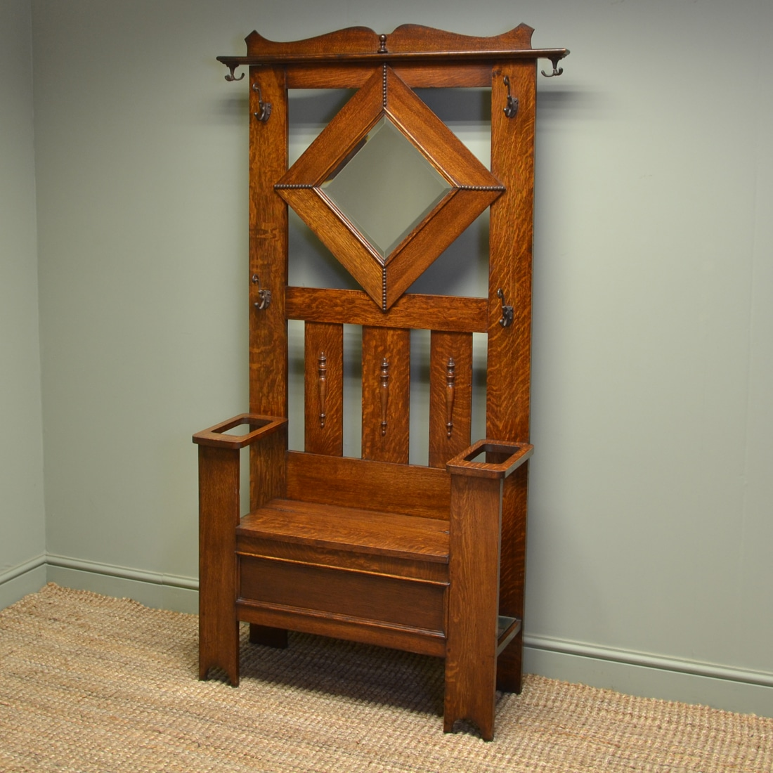 Solid Oak Antique Edwardian Hall Stand with Seat