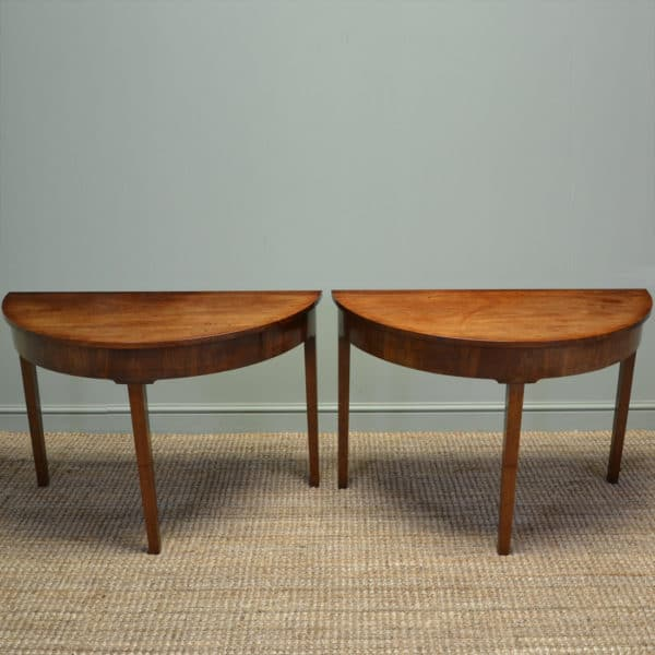 Pair of Georgian Mahogany D End Antique Console Tables