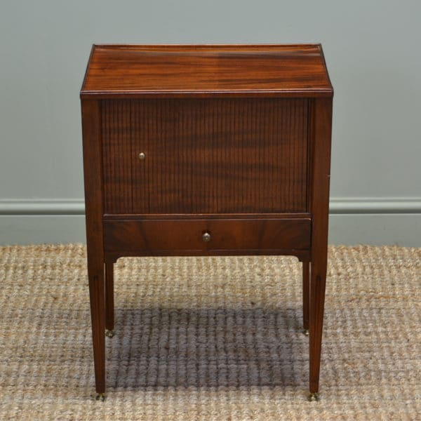 Unusual Quality Small Edwardian Mahogany Tambour Front Side Cabinet